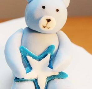 Blue christening bear