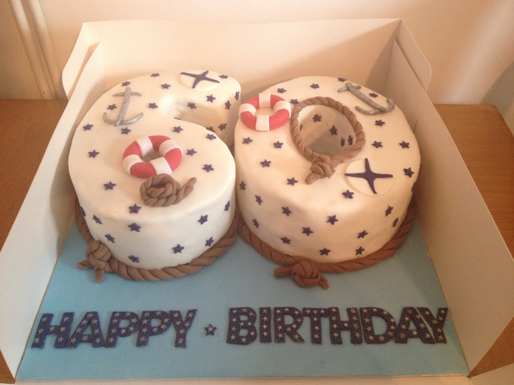 Nautical 60th numbered cake
