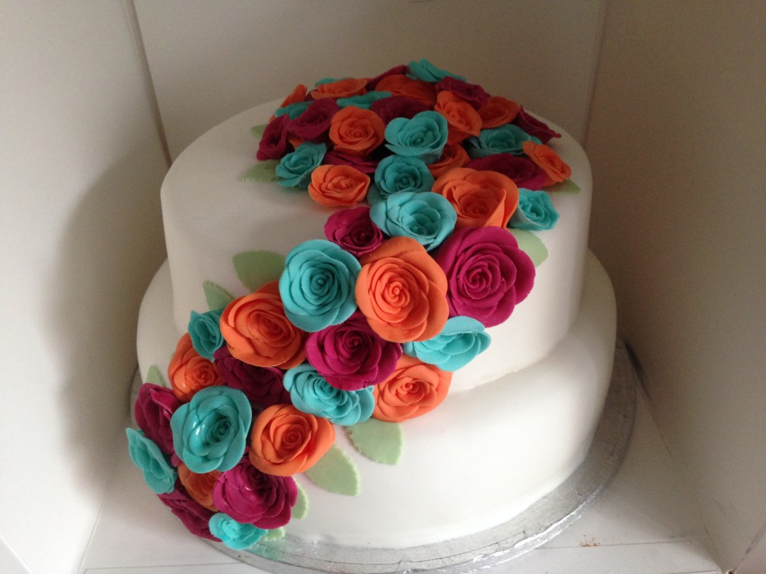 2 Tiers decorated with roses