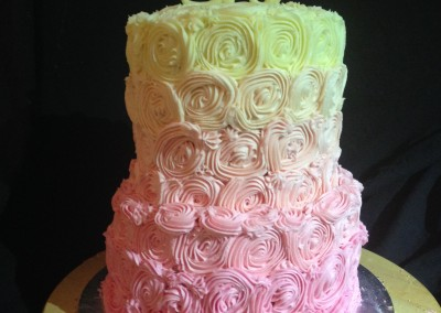 Pink & White Ombre rose christening cake