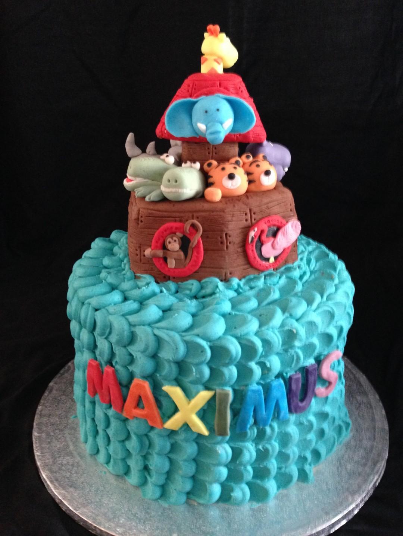 Rainbow sponge ark cake