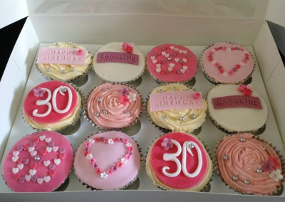 Pink & white 30th cupcakes