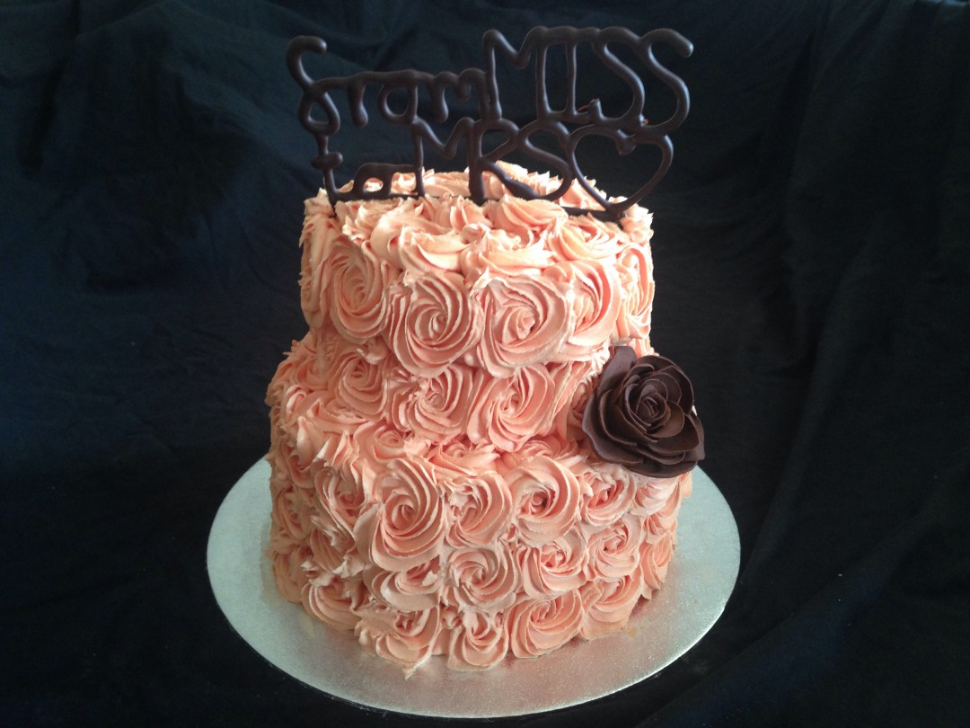 Coral roses with chocolate Hen do