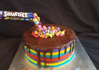 Floating smarties cake